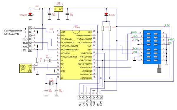 Принципиальная схема программатора ch341a для микросхем памяти