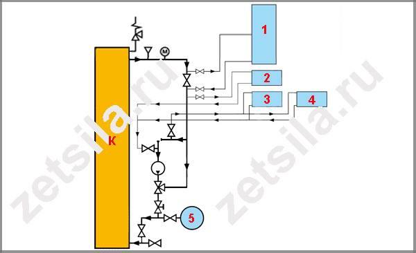 Схема разводки отопления без теплого пола