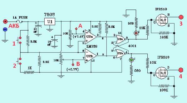 Схема контроллера заряда АКБ ветроэнергетической установки
