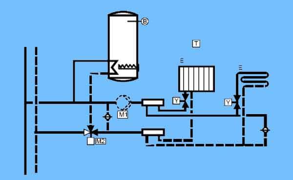 Схема отопления и ГВС с трёхходовым клапаном