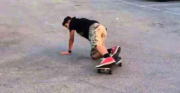 Неудачное приземление на скейте