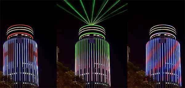 Точная подсветка зданий лазерным светом