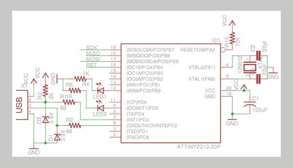 Принципиальная схема программатора AVR Pocket Programmer