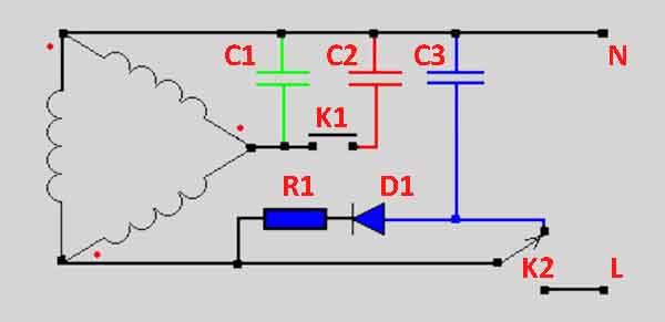 Схема включения электродвигателя 380 на 220