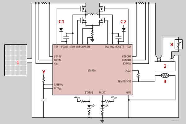 Схема контроллера солнечной установки