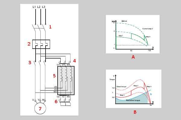 Схема пуска мотора через автотрансформатор
