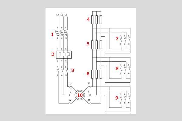Схема пуска электродвигателя с фазным ротором