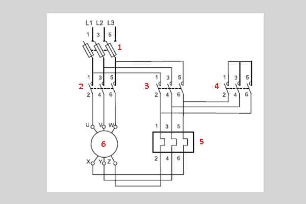 """Схема пуска электродвигателя """"звезда-треугольник"""""""