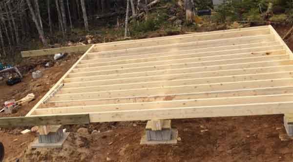 Обрешётка для пола строения из бревна