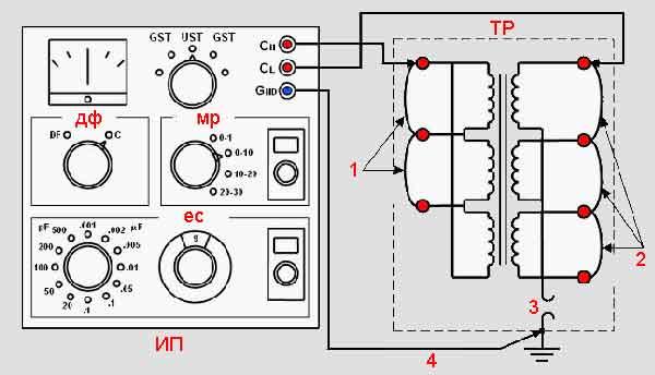 Схема теста ёмкости силового трансформатора