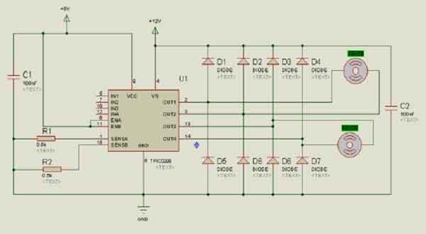 Схема управления моторами пылесоса