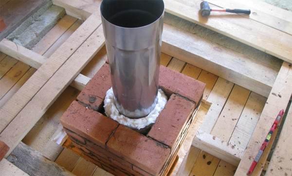 Твердотопливный котёл - вставка металлическая в кирпичной трубе