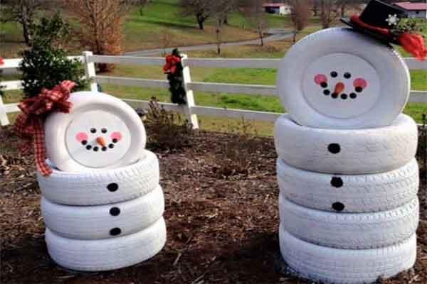 Шинный снеговик для южной зимы
