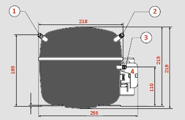 Компрессор Danfoss-sc21f схема патрубков и габариты