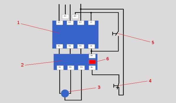Схема подключения контактора