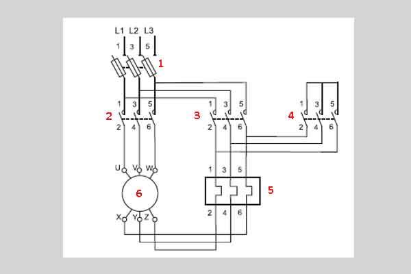 Схема пуска электродвигателя