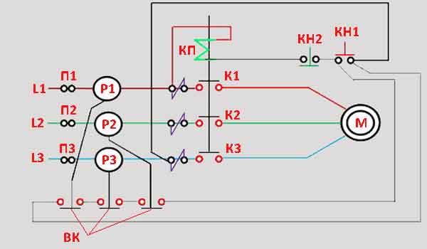 Схема защиты электродвигателя