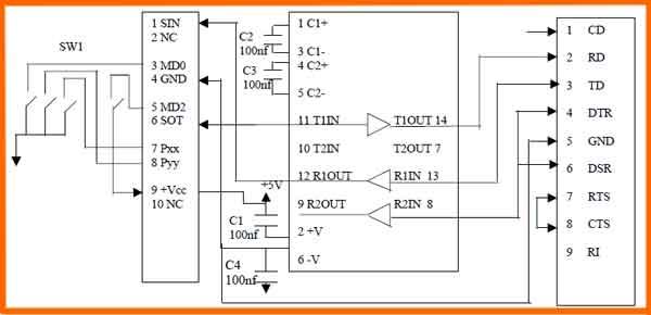 Схема адаптера программатора F2MC-16LX/FR