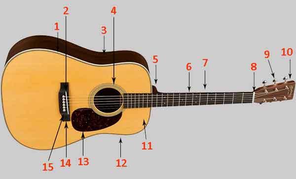 Конструкция шестиструнной гитары