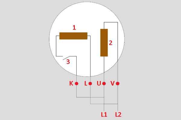 Схема пуска однофазного мотора