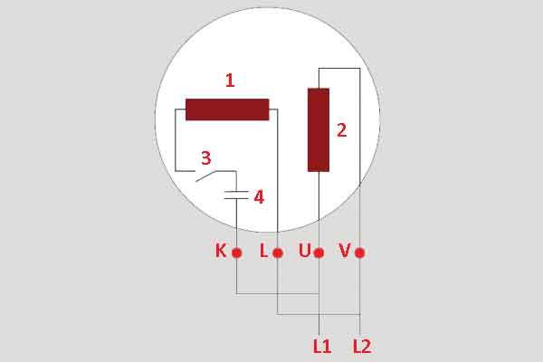 Схема пуск мотора с конденсатором