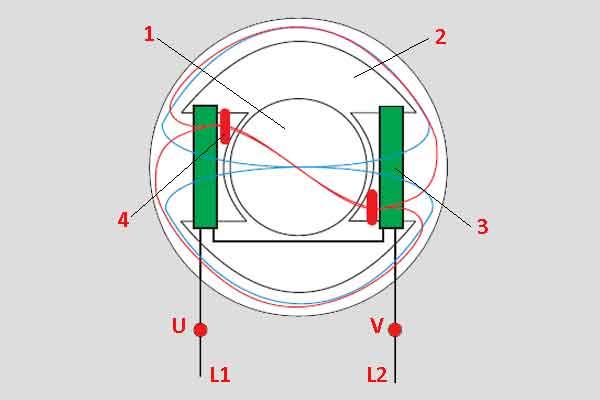 Схема на пуск однофазного электродвигателя с расщеплёнными полюсами