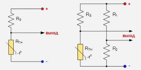 Схемы включения термисторов