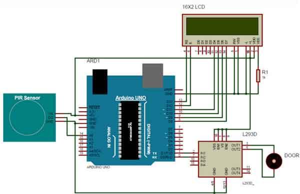 Схема автоматических дверей на PIR