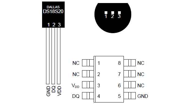 Распиновка датчика температуры DS18S20