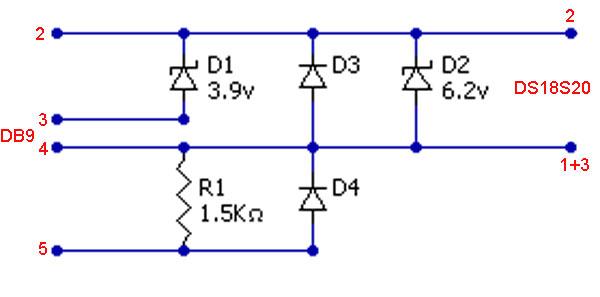 Схема паразитного режима питания DS18S20