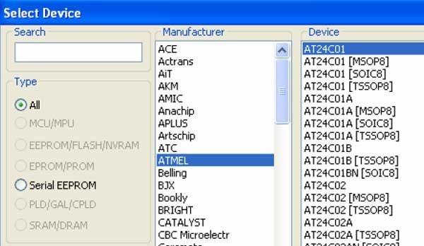 Выбор чипа памяти из списка базы данных