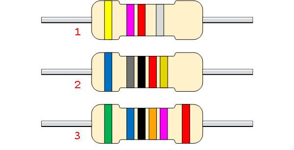 Примеры цветовой маркировки (кодировки) постоянных резисторов