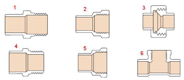 Адаптеры элементы в соединениях медных труб