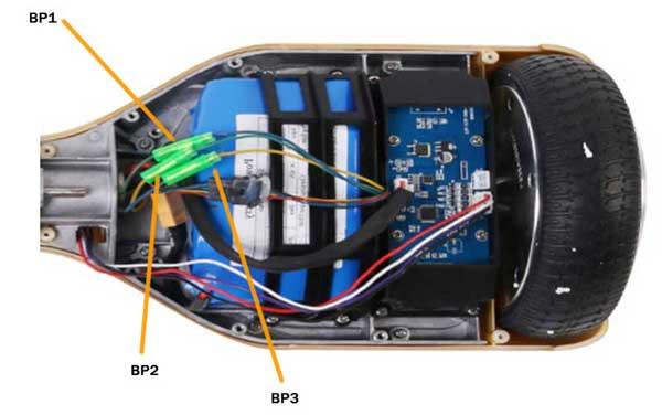 Разъёмы кабелей питания колёс ховерборда