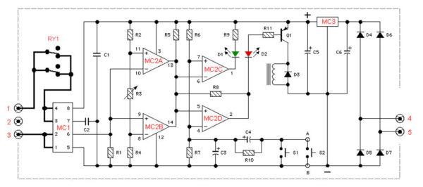 Электромеханический автоматический выключатель нагрузки - принципиальная схема
