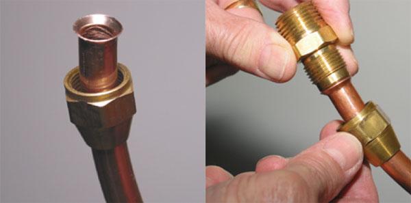 Медные трубы: коническое механическое соединение