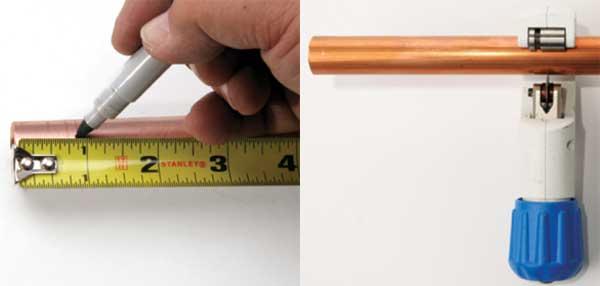 Подготовка медной трубы под соединение связывающим обжимом
