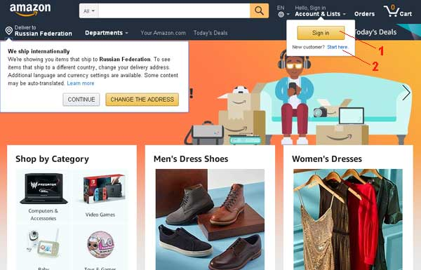 Регистрация кабинета на Amazon