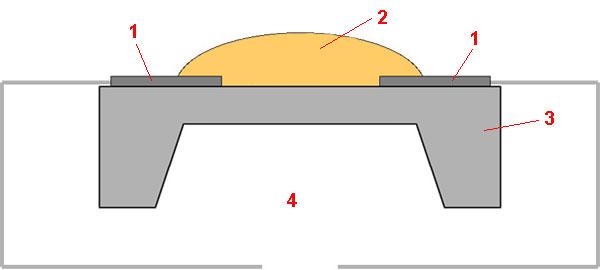 Упрощённая схема металлооксидного детектора угарного газа