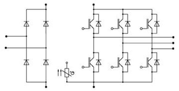 Схема матрицы SKiiP 01NEC066V3 преобразователя частоты VLT