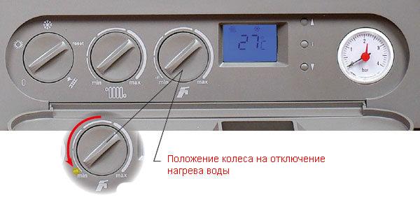 Функционал отключения нагрева воды