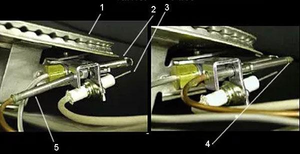 Термопара на узле горелки с электронным зажиганием