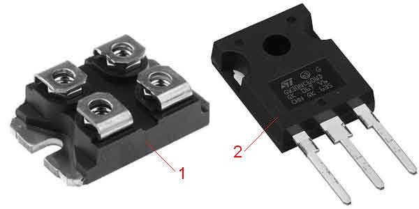 Мощный диод и транзистор для схемы индукционного нагревателя