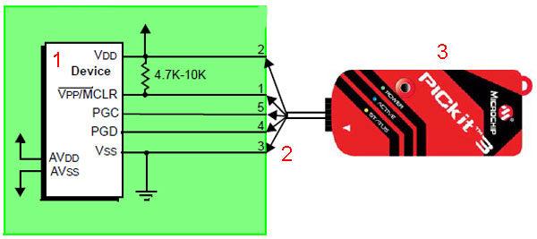 Программатор отладчик PICkit 3: классическая схема подключения