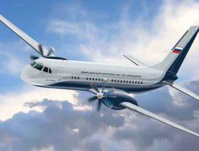 Пассажирский лайнер «Ил-114-300» регионального полёта уже смотрит в небо