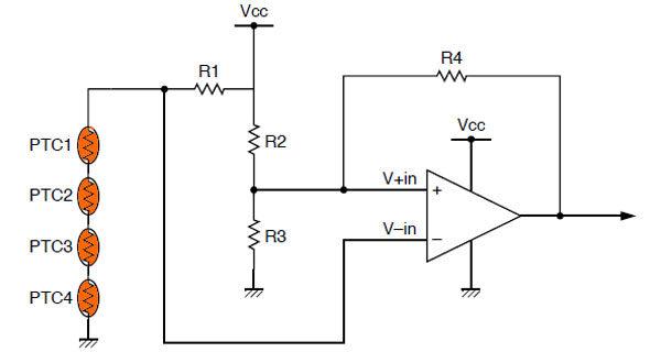 Позисторная схема температурной компенсации с компаратором