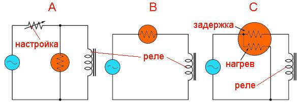 Схема управления реле через позистор