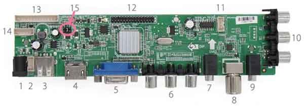 Скалер для модернизации монитора - плата устройства с терминалами