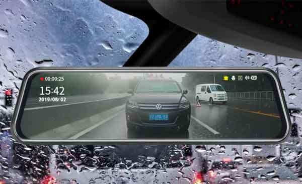 Автомобильное зеркало заднего вида с камерой и видеорегистратором
