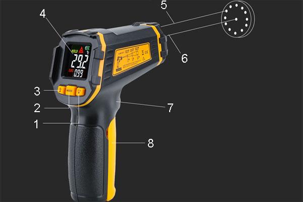 Бесконтактный термометр бытовой - элементы конструкции
